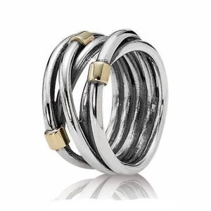Pandora Two Tone Rope Ring